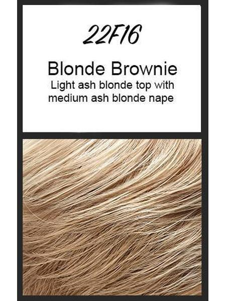 Color swatch showing Jon Renau's 22F16: Blonde Brownie - light ash blonde top with medium ash blonde nape