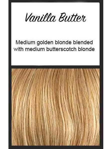 Color swatch showing Envy's Vanilla Butter: Medium golden blonde blended with medium butterscotch blonde