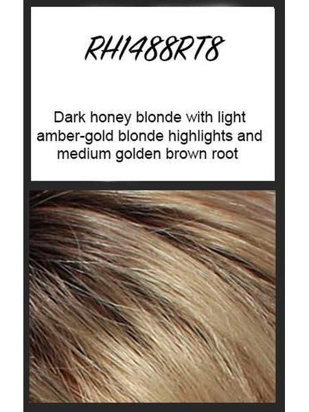 RH1488RT8: Dark honey blonde with light amber-gold blonde highlights and medium golden brown root