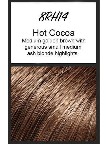 Color swatch showing Jon Renau's 8RH14: Hot Cocoa - medium golden brown with generous small medium ash blonde highlights