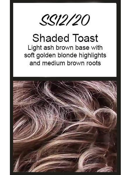 Color swatch showing Raquel Welch's SS12/20: Shaded Toast, Light ash brown base with soft golden blonde highlights and medium brown roots
