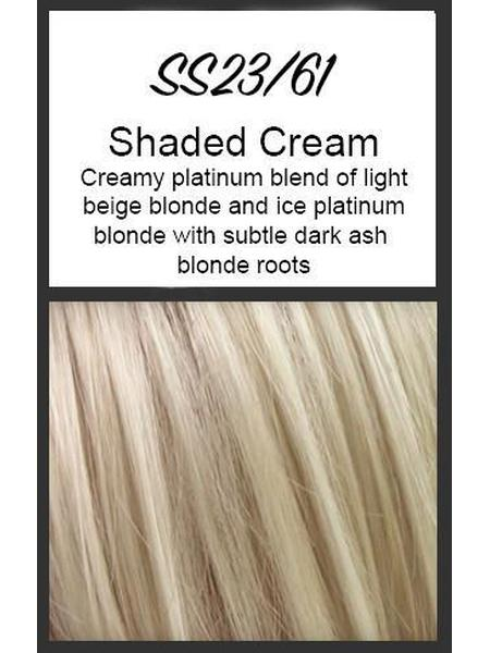 Color swatch showing Raquel Welch's SS23/61; Shaded Cream, Creamy platinum blend of light beige blonde and ice platinum blonde with subtle dark ash blonde roots