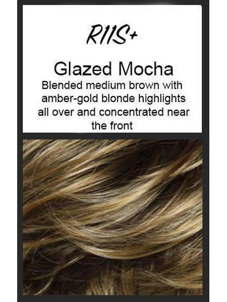 Color swatch showing Raquel Welch's R11S+: Glazed Mocha, Blended medium brown with amber gold-blonde highlights all over and concentrated near the front