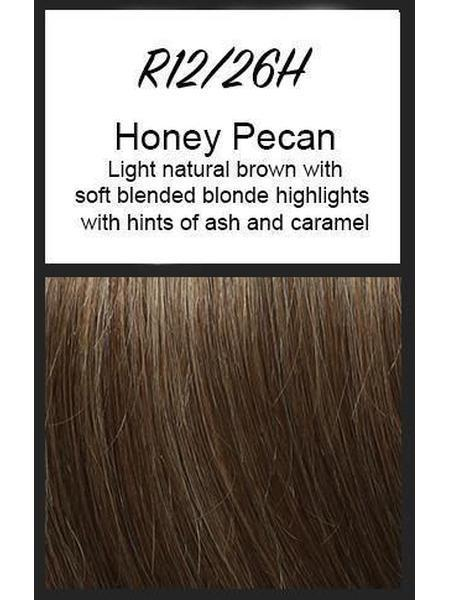 Color swatch showing Raquel Welch's R12/26H: Honey Pecan, Light natural brown with soft blended blonde highlights with hints of ash and caramel