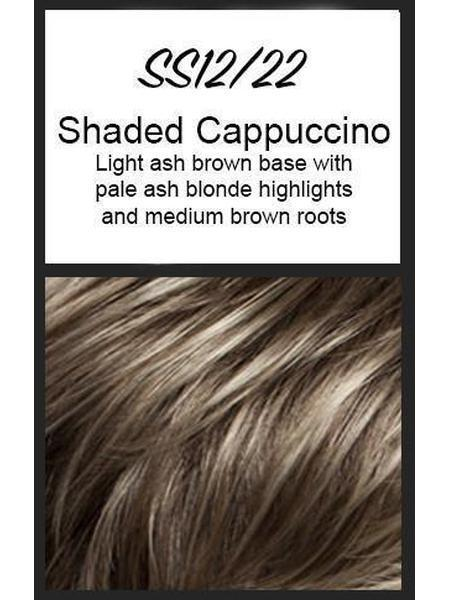 Color swatch showing Raquel Welch's SS12/22: Shaded Cappuccino, Light golden brown with pale ash blonde highlights all over the top and front, medium brown roots