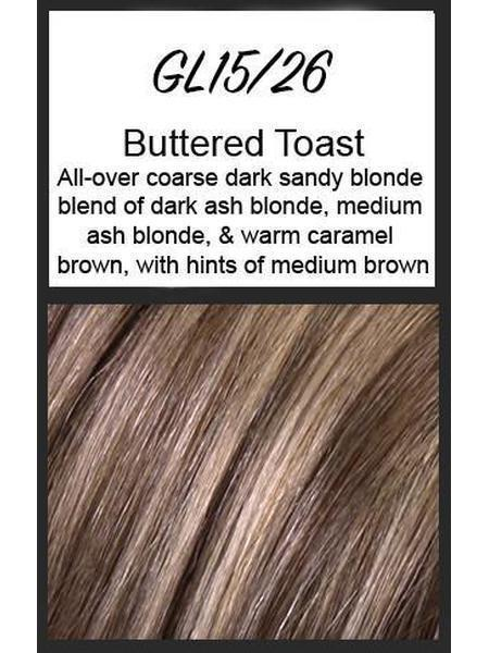 Color swatch showing Gabor's GL15/26: Buttered Toast - All-over coarse dark sandy blonde blend of dark ash blonde, medium ash blonde, & warm caramel brown, with hints of medium brown (4160189104179)