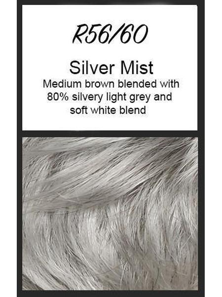 Color swatch showing Raquel Welch's R56/60: Silver Mist, Medium brown blended with 80% silvery light grey and soft white blend