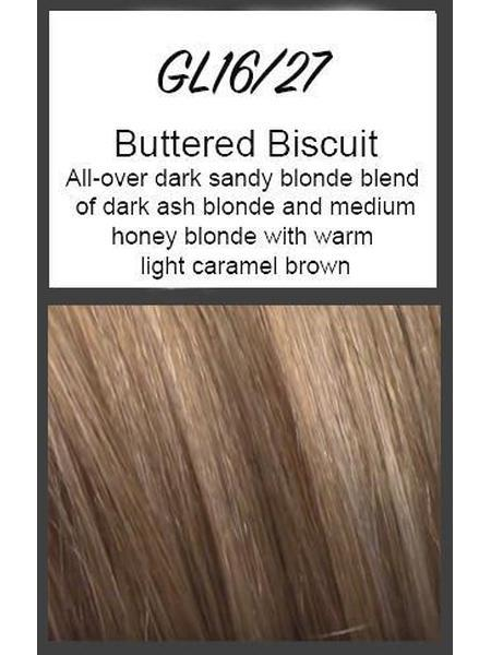 Color swatch showing Gabor's GL16/27: Buttered Biscuit - All-over dark sandy blonde blend of dark ash blonde and medium honey blonde with warm light caramel brown