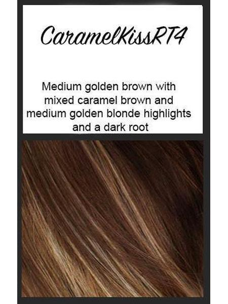 Caramel Kiss RT4: Medium golden brown with mixed caramel brown and medium golden blonde highlights and a dark root