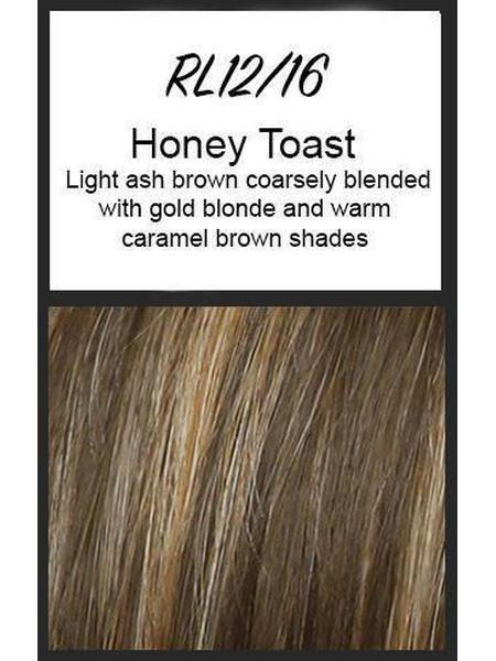 Color swatch showing Raquel Welch's RL12/16: Honey Toast, Light ash brown coarsely blended with gold blonde and warm caramel brown shades