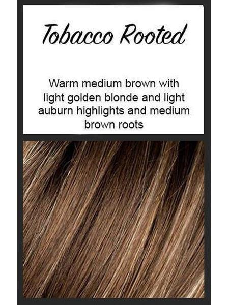 Tobacco Rooted: Warm medium brown with light golden blonde and light auburn highlights and medium brown roots