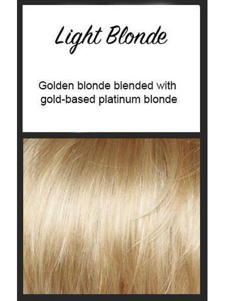 Color swatch showing Envy's Light Blonde: Golden blonde blended with gold-based platinum blonde