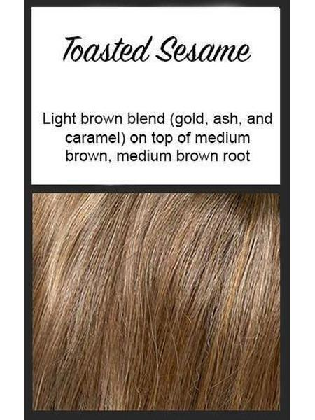 Color swatch showing Envy's Toasted Sesame:  Light brown blend (gold, ash, and caramel) on top of medium brown, medium brown roots