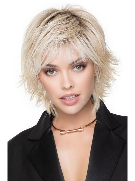 Razor Cut Shag by TressAllure in color: 24/102/R12 Golden Blonde Highlighted Platinum Rooted Light Golden Brown