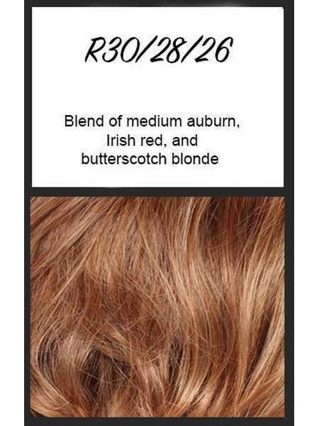 R30/28/26: Blend of medium auburn, Irish red and butterscotch blonde