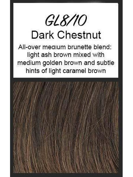 Color swatch showing Gabor's GL8/10: Dark Chestnut - All-over medium brunette blend: light ash brown and subtle hints of light caramel brown