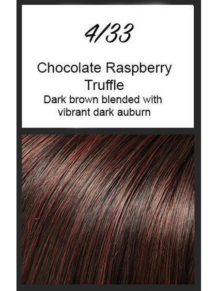 Color swatch showing Jon Renau's 4/33: Raspberry Chocolate Truffle - dark brown blended with vibrant dark auburn