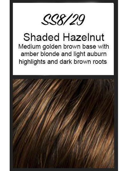 Color swatch showing Raquel Welch's SS8/29: Shaded Hazelnut, Medium golden brown blended with mixed auburn with hints of caramel, copper, and golden blonde, with dark brown roots