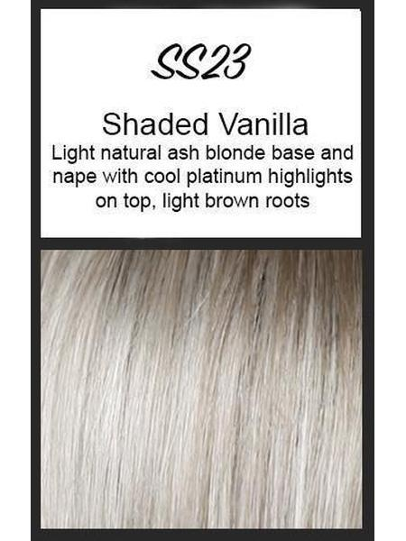 Color swatch showing Raquel Welch's SS23: Shaded Vanilla: Light natural ash blonde base and nape with coll platinum highlights on top with light brown roots