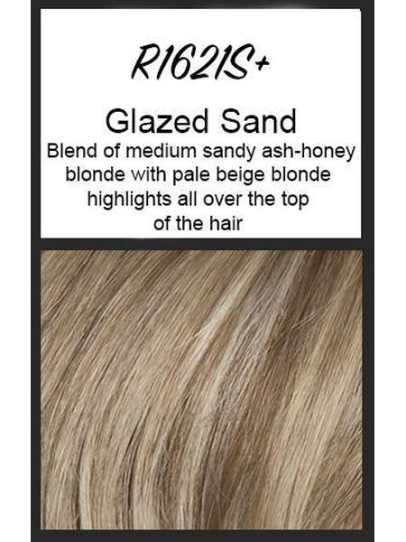 Color swatch showing Raquel Welch's R16/21S+: Glazed Sand, Blend of medium sandy ash-honey blonde with pale beige blonde highlights all over the top of the hair