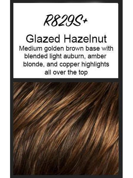 Color swatch showing Raquel Welch's R8/29S+: Glazed Hazelnut, Medium golden brown base with blended light auburn, amber blonde and copper highlights near the front