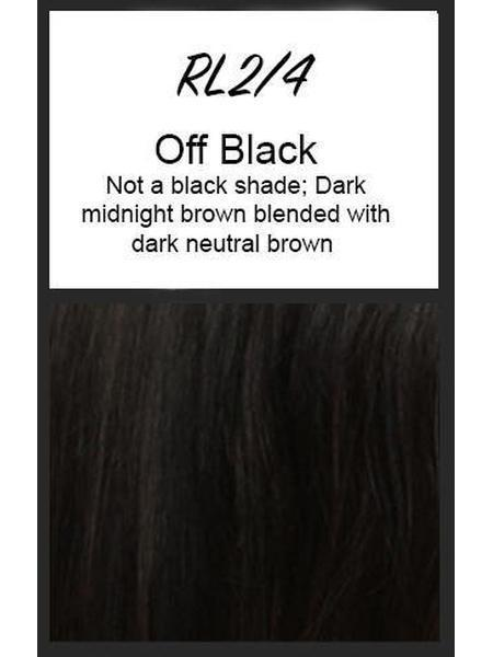 Color swatch showing Raquel Welch's RL2/4: Off Black, Not a black shade; Dark midnight brown blended with dark neutral brown