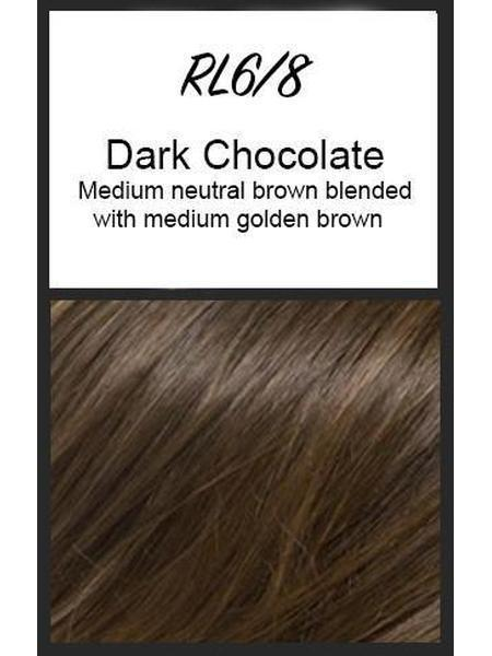 Color swatch showing Raquel Welch's RL6/8: Dark Chocolate, Medium neutral brown blended with medium golden brown