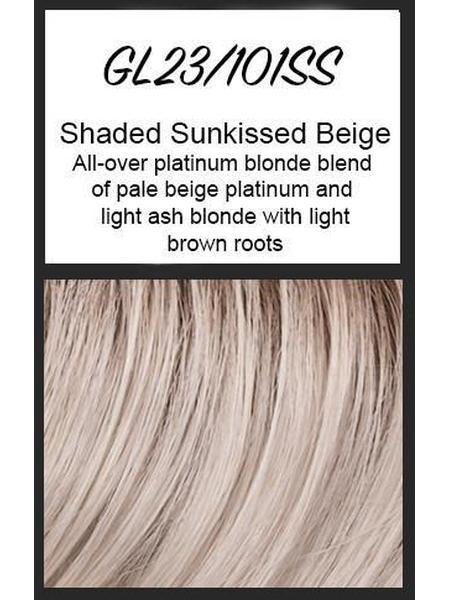 Color swatch showing Gabor's GL23/101SS: SS Sunkissed Beige - All-over platinum blonde blend of pale beige platinum and light ash blonde, with light brown roots