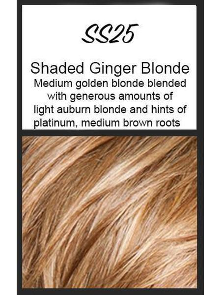 Color swatch showing HairDo's SS25: Shaded Ginger Blonde, Medium golden blonde blended with generous amunts of light auburn blonde and hints of platinum and medium brown roots