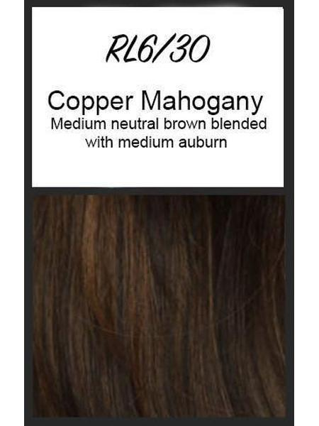 Color swatch showing Raquel Welch's RL6/30: Copper Mahogany, Medium neutral brown blended with medium auburn