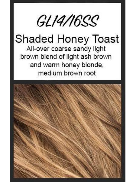 Color swatch showing Gabor's GL14/16SS: SS Honey Toast - All-over coarse sandy light brown blend of light ash brown and warm honey blonde, medium brown root