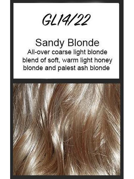 Color swatch showing Gabor's GL14/22: Sandy Blonde - All-over coarse light blonde blend of soft, warm, light honey blonde and palest ash blonde