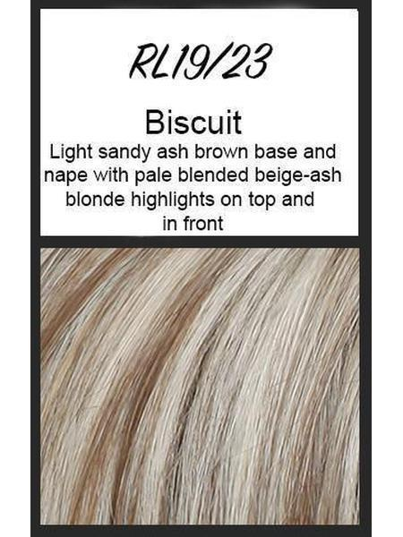 Color swatch showing Raquel Welch's RL19/23: Biscuit, Light sandy ash brown base and nape with pale blended beige-ash blonde highlights on top and in front