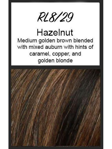 Color swatch showing Raquel Welch's RL8/29: Hazelnut, medium golden brown blended with mixed auburn with hints of caramel, copper, and golden blonde