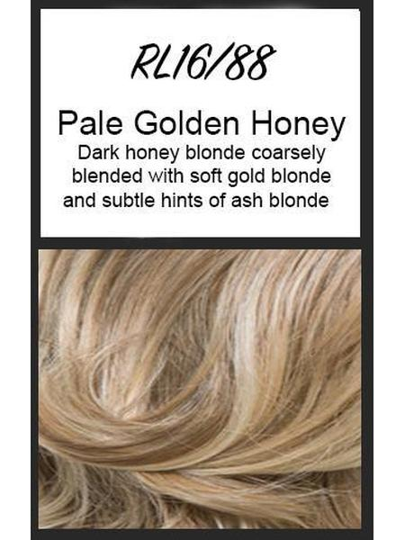 Color swatch showing Raquel Welch's RL16/88: Pale Golden Honey, Dark honey blonde coarsely blended with soft gold blonde and subtle hints of ash blonde