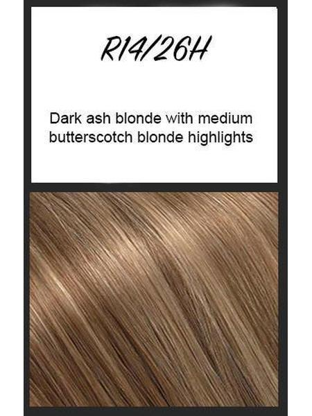 R14/26H: Dark ash blonde with medium butterscotch blonde highlights