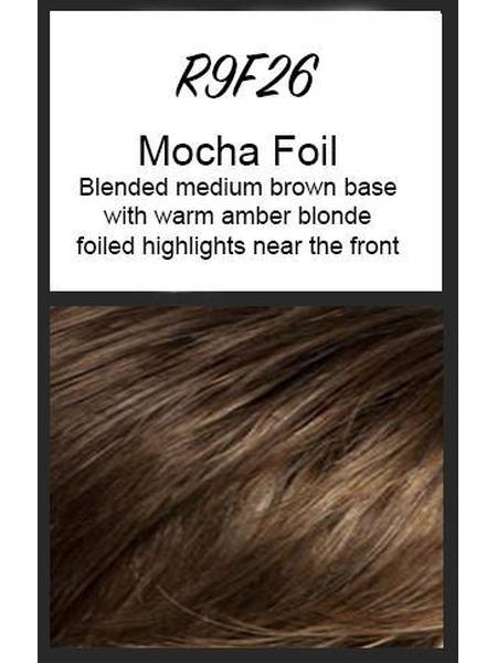 Color swatch showing Raquel Welch's R9F26: Mocha Foil, Blended medium brown base with warm amber blonde foiled highlights near the front
