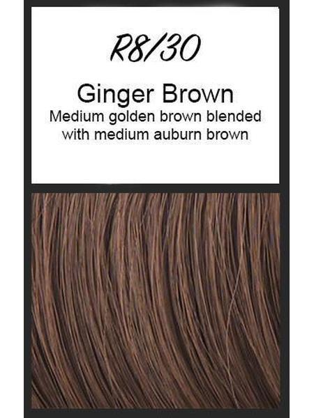 Color swatch showing Raquel Welch's R8/30: Ginger Brown, Medium golden brown blended with medium auburn brown