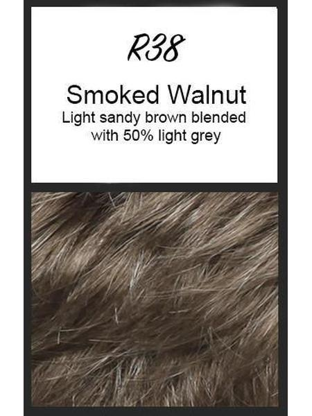Color swatch showing Raquel Welch's R38: Smoked Walnut, Light warm brown blended with 50% medium grey