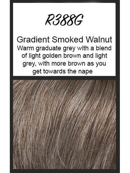 Color swatch showing Raquel Welch's R388G: Gradient Smoked Walnut: Warm graduate grey with a blend of light golden brown and light grey with more brown as you get towards the nape