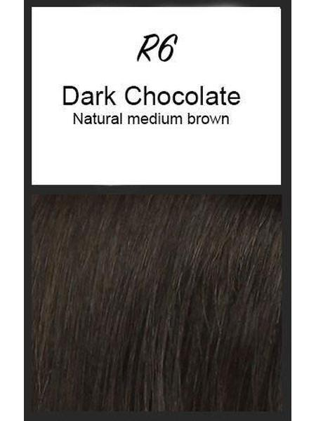 Color swatch showing Raquel Welch's R6: Dark Chocolate, Natural medium brown