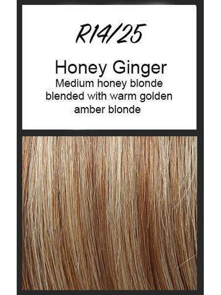 Color swatch showing Raquel Welch's R14/25: Honey Ginger, Dark warm honey blonde coarsely mixed with medium golden blonde with hints of amber blended in