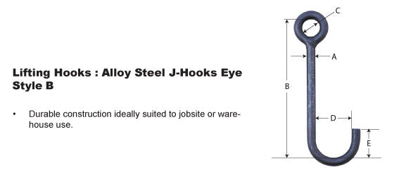 Style B J-Hooks for Overhead Lifting Applications