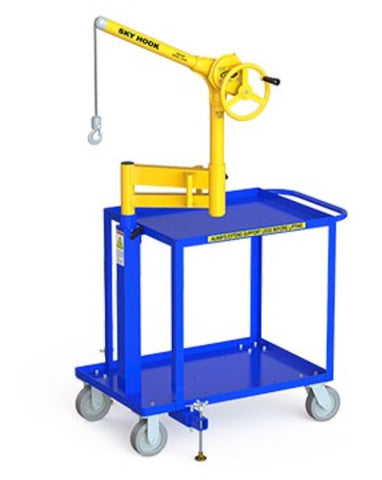 Ergonomic Lifting Device, Chain Sky Hook w/Mobile Cart Base and Articulating Arm