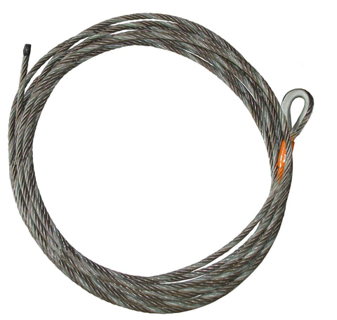 "Winch Cable (NO HOOK), 7/16"" Diameter, Length 35-150 Feet"