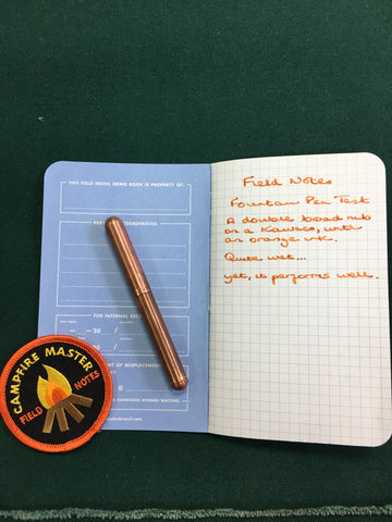 Field Notes Campfire and fountain pen trial