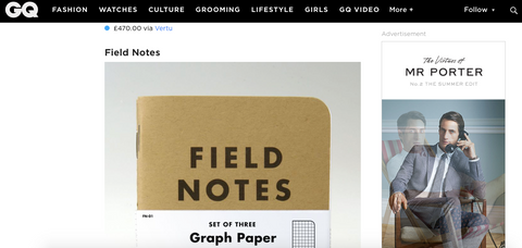 GQ Magazine Featuring Field Notes by Pocket Notebooks