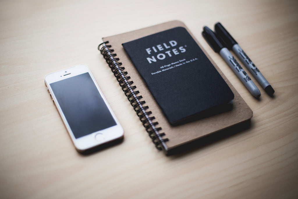 field notes small notepads with phone and pens