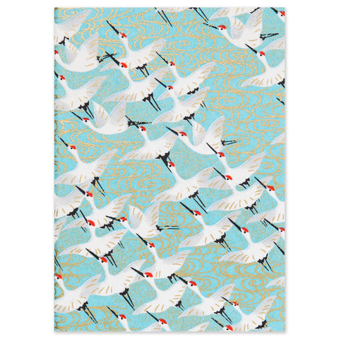 ESMIE Paperback Notebook White Cranes/Blue