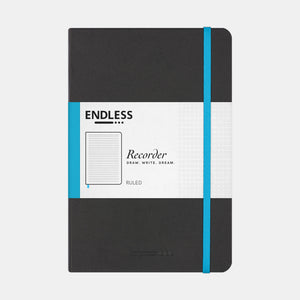 Endless Recorder Notebook - A5 Ruled Black